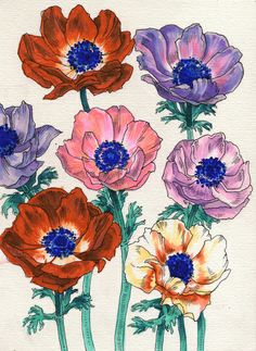 """""""Poppies"""" Poster Print, $18 // would make a pretty tattoo"""