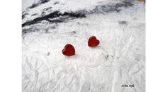 Szív fülbevaló-csillogó piros - Üveglencsés