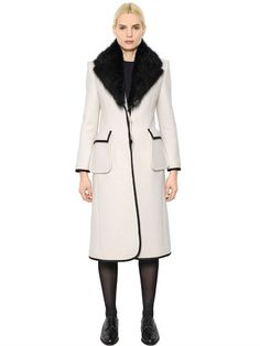 BOILED WOOL COAT WITH FUR COLLAR