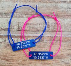 Set of 2 Coordinates Bracelet, Couples Bracelets, Engraved, Custom, Cord Bracelet, Latitude, Longitude, Couples Gift,Location, Husband Gift Couple Bracelets, Cord Bracelets, My Boyfriend, Boyfriend Gifts, Send Package, Latitude Longitude, New Drivers, Sliding Knot, Gifts For Husband