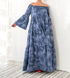 Denim dress/ Maxi Dress/ Blue Dress/ Long sleeve Dress/ Boho