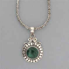 Green Malachite Pendant Bali Sterling Silver Necklace Jewelry Beautiful Gemstone