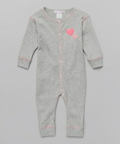 Another great find on #zulily! Heather Gray & Pink Felt Heart Playsuit - Infant #zulilyfinds