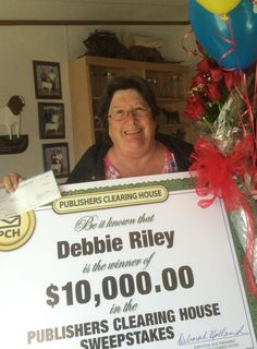 Courtesy of #PCH on Twitter (Smiles) Here is Today's #PCH #Winner! #Believe and #NeverGiveUp......A BIG congrats to today's $10,000 winner - Debbie Riley from Sherman, TX! We are SO happy for Debbie and her family!!