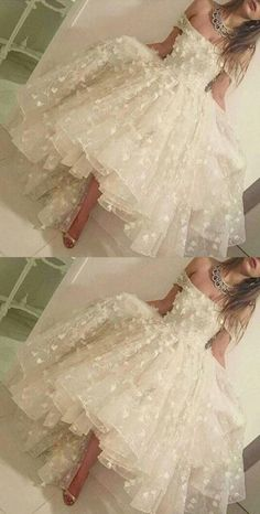 off the shoulder hi-low prom dresses, romantic prom dresses, dresses for women by colleen