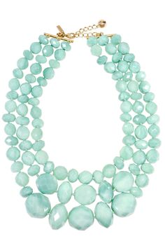 kate spade new york accessories Sea Green Swirl Triple Row Necklace - Rent this stylish statement necklace to dress up any of your recruitment looks! Mint is a very popular color on the UMASS campus! Jewelry Box, Jewelery, Jewelry Accessories, Fashion Accessories, Fashion Jewelry, Jewelry Making, Jewelry Ideas, Turquoise Necklace, Beaded Necklace