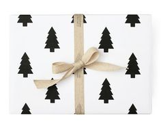 Pine Christmas Tree Wrapping Paper  Black and White by thepaperkit