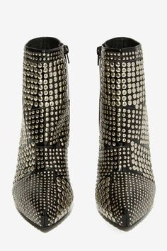 Studded Leather Bootie