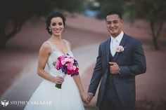 The grooms soft pink rose boutonnierre looks so romantic against the gray suit. Purple, Pink & Parasols:  Wedgewood Las Vegas Wedding | Stephen Salazar Photography