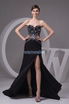 Floor Length Black Chiffon Sheath Sweetheart Evening Dress With Beading Sequins(ZJ6366)