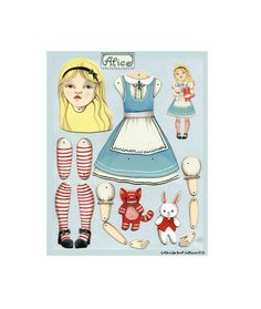 Alice in Wonderland-- DIY Articulated Paper Doll Set-- White Rabbit and Cheshire Cat
