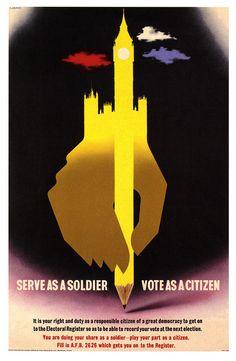 Serve as a soldier, vote as a citizen (1944). #vintage #1940s #WW2 #propaganda #posters