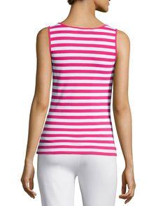 Striped Cotton Tunic, Azalea/White