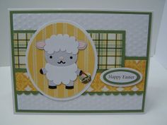 Stampin Up Handmade Greeting Card: Easter Card, Lamb, Sheep, Child's Easter, Happy Easter, Spring