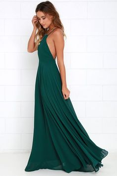 The Mythical Kind of Love Dark Green Maxi Dress is simply irresistible in every single way