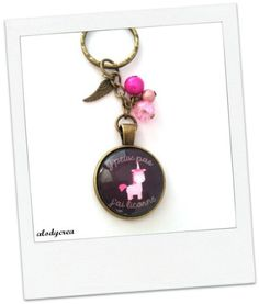 Porte clés licorne cabochon en verre bronze par alodycrea sur Etsy - licorne  - unicorn - keychain d306f75f02b