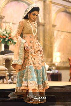peach and blue lengha style - Outfit #desi #indian #fashion #pakistani #southasian #wedding