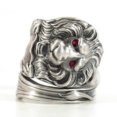 Victorian Lion Ring Sterling Silver Spoon Ring Red by Spoonier
