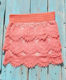 Coral Crochet Skirt This makes me want to go out and buy some cowboy boots.lol