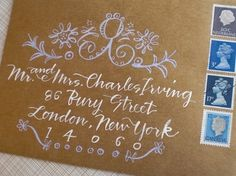 addressing envelopes.  Use metallic sharpie for flourishes
