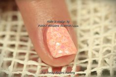 Gelish Salmon Pink nails with Konad Stamping by www.funkyfingersfactory.com