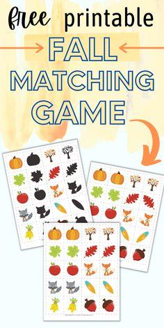 Free printable fall matching game for kids
