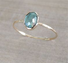 London Blue Topaz Gold Ring, 14k Gold Ring, Delicate Gold Ring, Oval Gemstone Ring, Stackable Ring, Engagement Ring, Something Blue by NicoleScheetz on Etsy