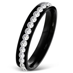 Black With cz Diamonds Eternity Band Ring
