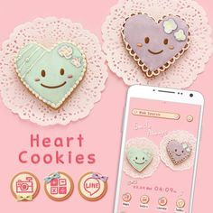 """""""Heart Cookies"""" Available From:3/21 '16 (EST) The cute pastel colors decorating these heart cookies are sure to bring a smile! http://app.android.atm-plushome.com/app.php/app/themeDetail?material_id=1439&rf=pinterest #cute #wallpaper #love #kawaii #design #icon #plushome #homescreen #widget #deco"""