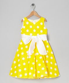 Look at this Yellow Polka Dot Bow Dress - Infant, Toddler & Girls on #zulily today!