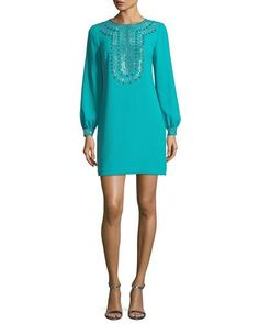 Trina Turk Kapona Embellished Bishop-sleeve Dress In Aquatic Trina Turk Dresses, Embellished Dress, Neiman Marcus, Polyester Spandex, Cold Shoulder Dress, Luxury Fashion, Long Sleeve, Model, Clothes