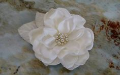 Bridal ivory flower hair clip. Gardenia with pearls and velvet leaves. Custom orders welcome! Check out this item in my Etsy shop https://www.etsy.com/listing/231823324/bridal-ivory-cream-gardenia-flower-hair