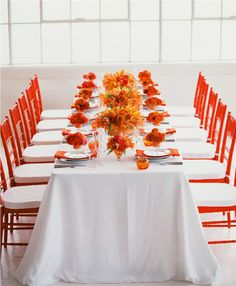 Beautiful Orange + Coral Table - so vibrant xo