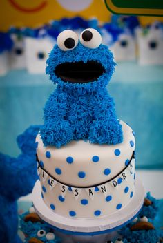 Love the cake under Cookie Monster  blue cupcake: A Cookie Monster Event