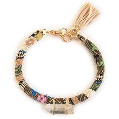 Quartz crystal bracelet with tassel, cord bracelet in boho style ($20) ❤ liked on Polyvore featuring jewelry, bracelets, quartz bracelet, bohemian bangles, cord bracelet, tassel jewelry et crystal bangle