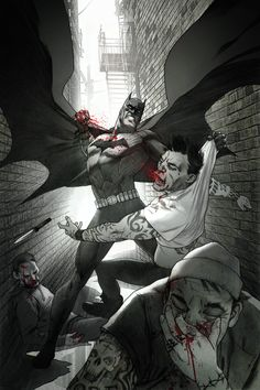 Batman brutally taking out a gang of street thugs in an ally. By  Joshua Middleton
