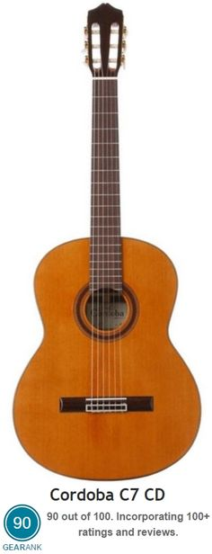 Cordoba C7 CD. This version has the Solid Canadian Red Cedar top.  It's rated as one of the best Nylon String Guitars - for further details see https://www.gearank.com/guides/nylon-string-guitar