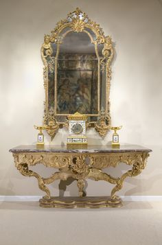 Furniture Tireless Solid Mahogany French Chateau Style Gilt Marble Top Carved Console Hall Table Tables