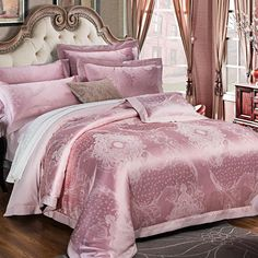 2017 pink  Stain Jacquard Luxury Bedding set 4Pcs King Queen size Bedlinen Bed sheet Fit sheet Duvet cover Pillowcase