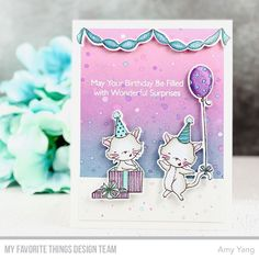Handcrafted Cards Made With Love: MFT / JULY RELEASE COUNTDOWN DAY 4 Kids Birthday Cards, Cat Birthday, It's Your Birthday, Mft Stamps, Copics, Clear Stamps, Small Gifts, I Card, Cardmaking