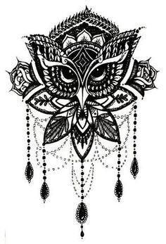 Lotus Thigh Tattoo Ideas - Owl Chandelier Leg Women Tat - MyBodiArt.com