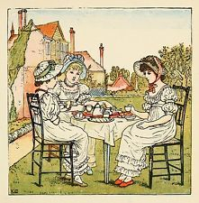 Afternoon tea kate greenaway vintage reproduction imprimer brillant papier photo 1880