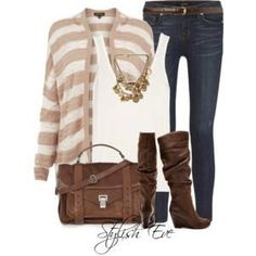 Jeans with striped sweater and brown boots