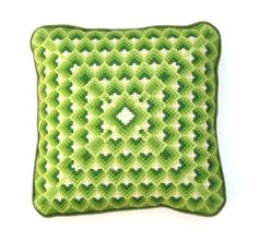 Bargello Needlepoint Pillow 1970s Vintage   Green by UncommonEye, $24.00 etsy