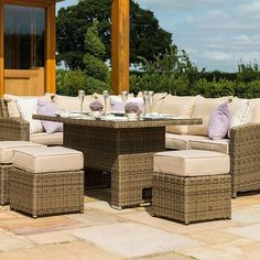 The Kingston Corner Dining Set is the perfect way to combine relaxation with comfortable dining. Make the most of the space in your garden with the corner sofa style seating and large table. Plenty of room for the largest of feasts with all the family.