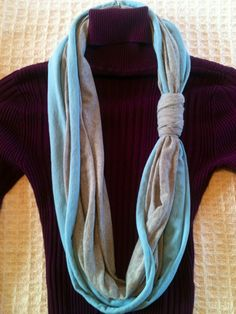 Upcycled Eco-Friendly DIY Infinity T-Shirt Scarf in Blue/Grey ($10.00 +s)  Visit my shop at: www.etsy.com/shop/yourfabrics