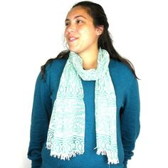 Leaves and Paisley Design  Cotton Scarf with Fringe Handmade for women