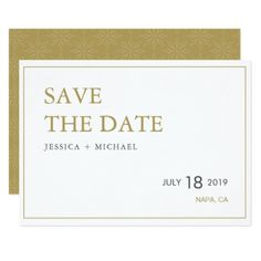 Simple Chic Gold and White Wedding Invitation Card - save the date gifts personalize diy cyo