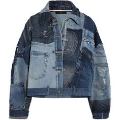 Dolce & Gabbana Distressed patchwork denim jacket ($3,290) ❤ liked on Polyvore featuring outerwear, jackets, distressed denim jacket, patched denim jacket, patch jacket, off-the-shoulder jackets and patchwork jean jacket