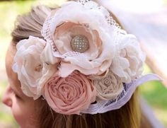 Vintage lace hair clip fabric flower wedding fascinator up-cycled blush pink ivory wedding upcycled wedding hairpiece easter hair photo prop